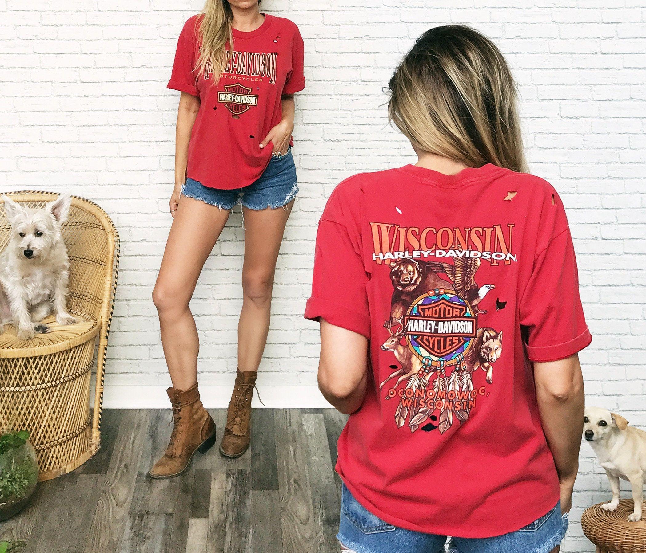 Vintage Harley Davidson Red Dream Catcher Eagle Bear Deer