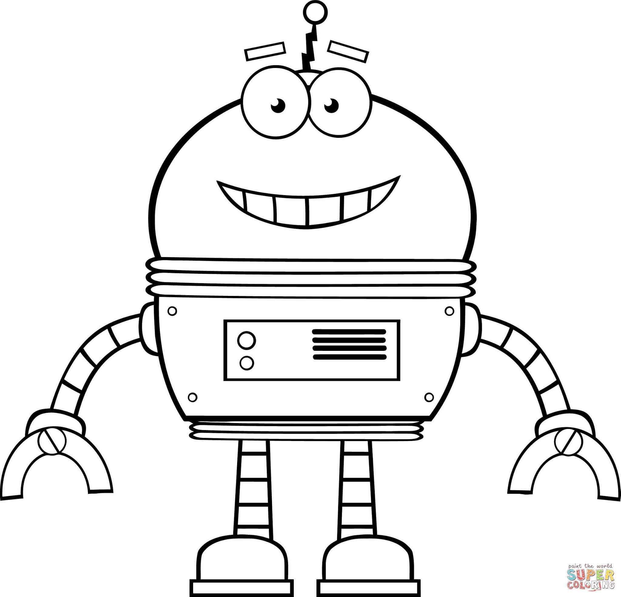 Smiling Robot Coloring Page Free Printable Coloring Pages Uitvindingen