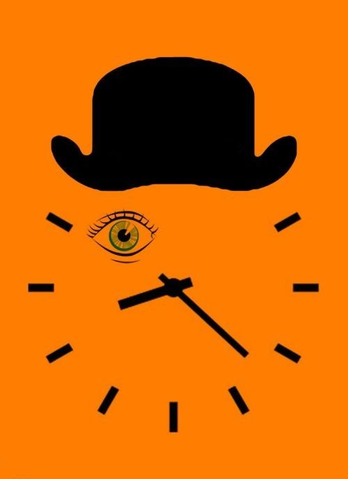 Simple Orange Clock W The Top Hat And Eye Symbols Dont Let Them