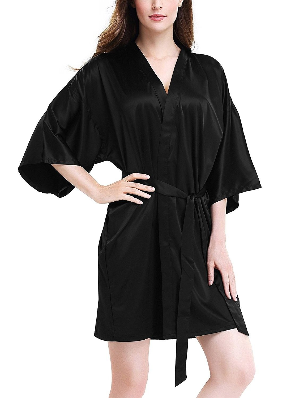 40c471a415 Women's Stretchy Satin Kimono Robe Bridesmaid Silk Nightwear Short Bathrobe  - Black - C217YIIHCA8,Women's Clothing, Lingerie, Sleep & Lounge, Sleep &  Lounge ...