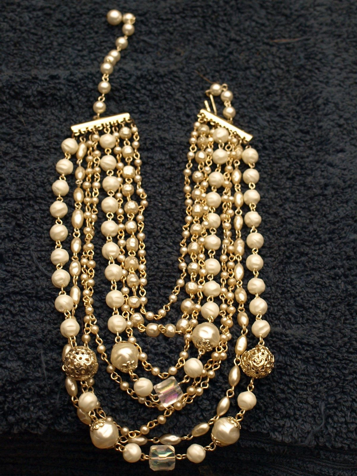 8740ad499578f Gorgeous 8-strand necklace with costume pearls, gold-tone beads ...