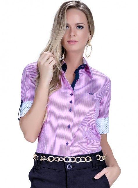camisa manga curta social listrada feminina principessa luara look ... 4e2c684fee3