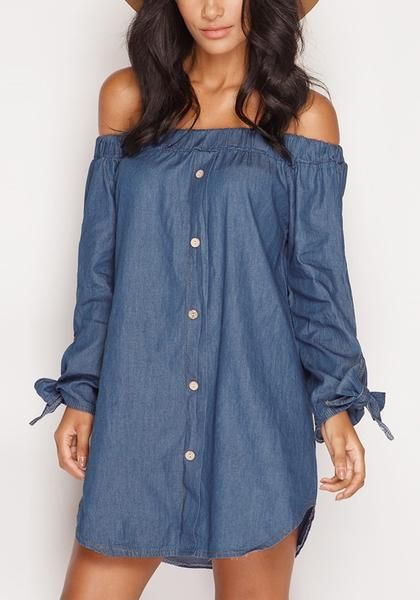 Want that effortless girl-next-door look? Show off your girly side with this off-shoulder chambray tunic.