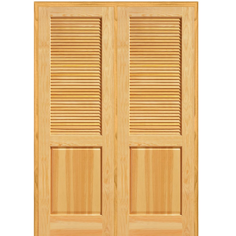 Mmi Door 60 In X 80 In Half Louver 1 Panel Unfinished Pine Wood