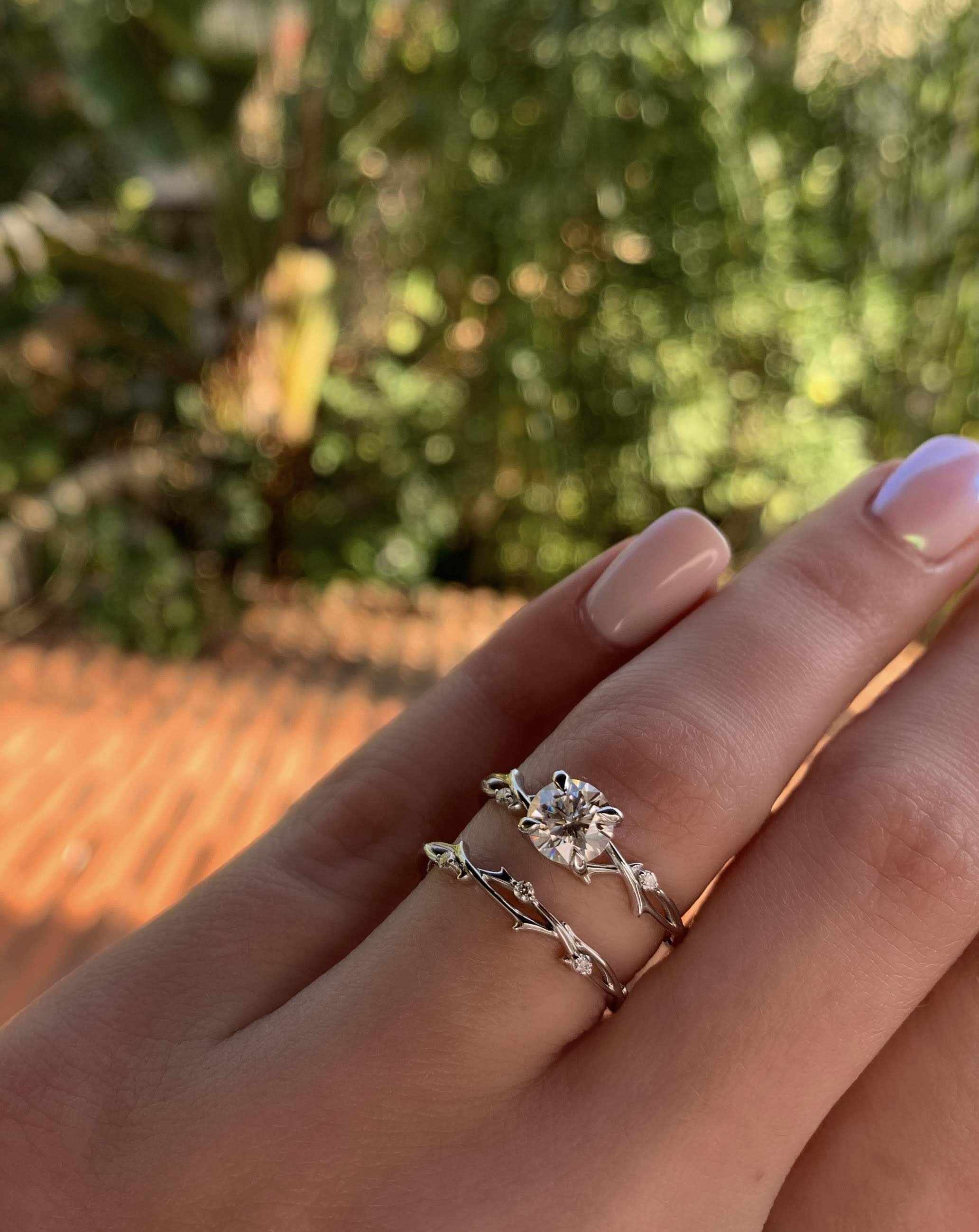 Twig Engagement Set Petal Bridal Set Dainty Twig Engagement Etsy Twig Engagement Ring Engagement Sets Twig Engagement Ring Set