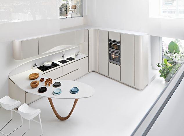 Snaidero OLA 20 in nordic white micalized lacquered doors and ...
