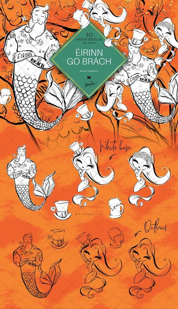 Irish Mermaids Doodle Clipart by Karamfila on @creativemarket