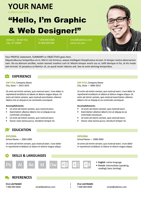 Great Resume Templates For Microsoft Word Astoria Free Resume Template Microsoft Word  Green Layout  Classic .