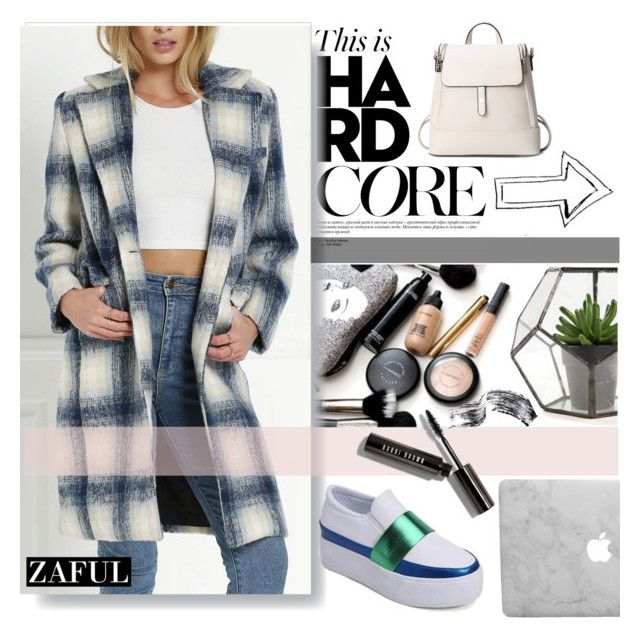 """""""Checked Pattern Lapel Long Sleeve Coat"""" by pinki1994 ❤ liked on Polyvore featuring Bobbi Brown Cosmetics and zaful"""