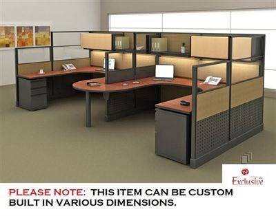 Picture Of Peblo Cluster Of 2 Person U Shape Office Desk Cubicle Workstation Cubicle Design Corporate Office Design Used Office Furniture