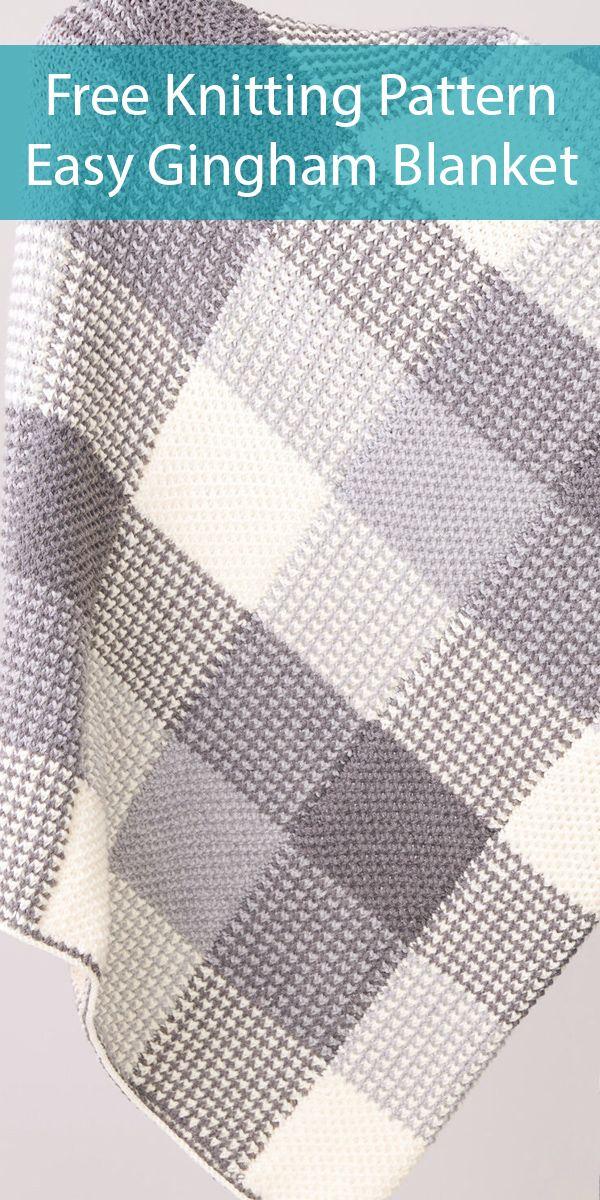 Free Knitting Pattern for Easy Gingham Panels Blanket
