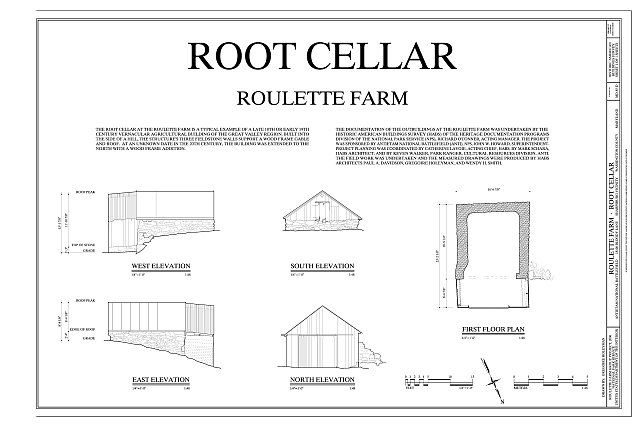 Elevations First Floor Plan And Project Information Roulette Farm Root Cellar Sharpsburg Washington County Md Root Cellar Cellar Design Cellar