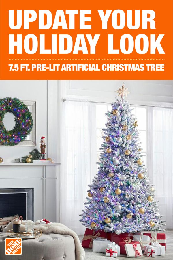 Add A Little Sparkle To Your Home This Holiday Season With The 7 5 Ft Starry Light Flocked Fraser Artificial Pre Starry Lights Pre Lit Christmas Tree Holiday