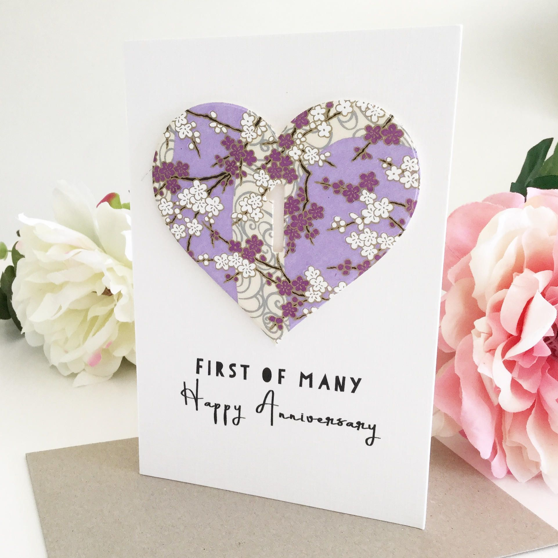 1st Anniversary Card Paper One Year 365 Days Together 1st