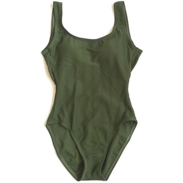 80e74273ac 90 s One Piece Ribbed Olive Green Swimsuit 1 Piece Bathing Suit. ( 61) ❤  liked on Polyvore featuring swimwear