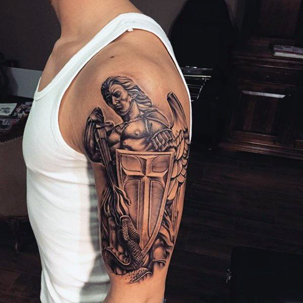 Guardian angel with shield tattoo mens arms full and for Guardian angel half sleeve tattoos
