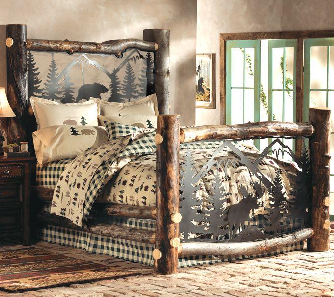 black forest decor aspen log bed w metal wildlife scene queen