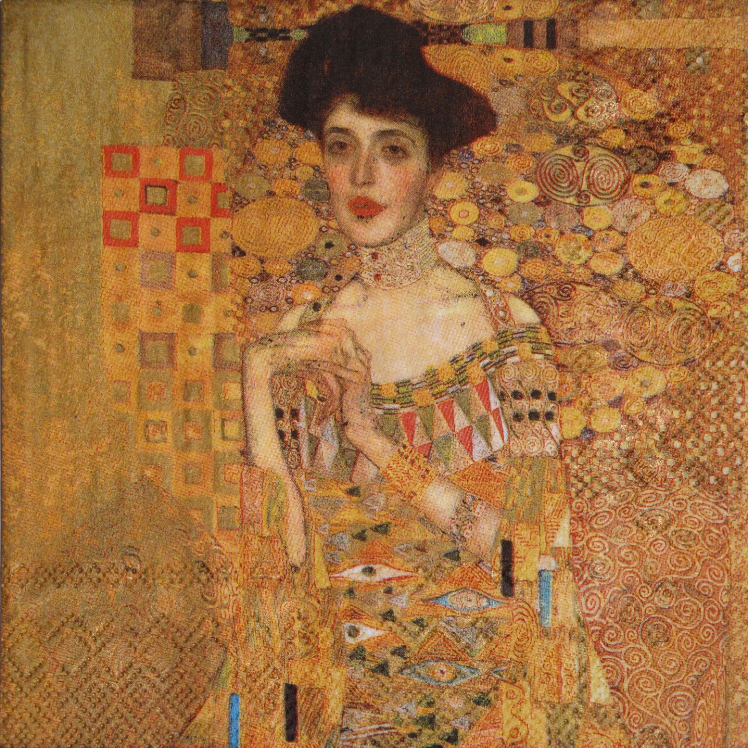 decoupage paper napkins gustav klimt woman in gold klimt 39 s portrait of adele bloch bauer set. Black Bedroom Furniture Sets. Home Design Ideas