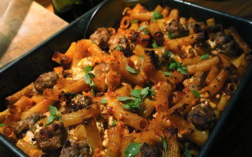 Pasta bake with spicy Italian meatballs