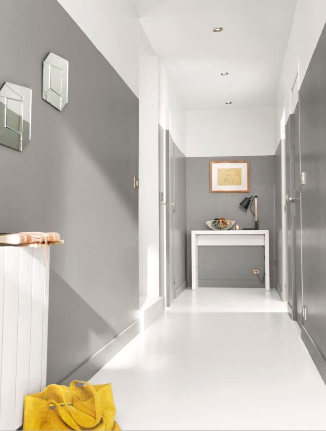 Redonnez du style à votre entrée avec la peinture Colours Gris urbain. Pour une déco sobre et chic tout en gris et blanc.