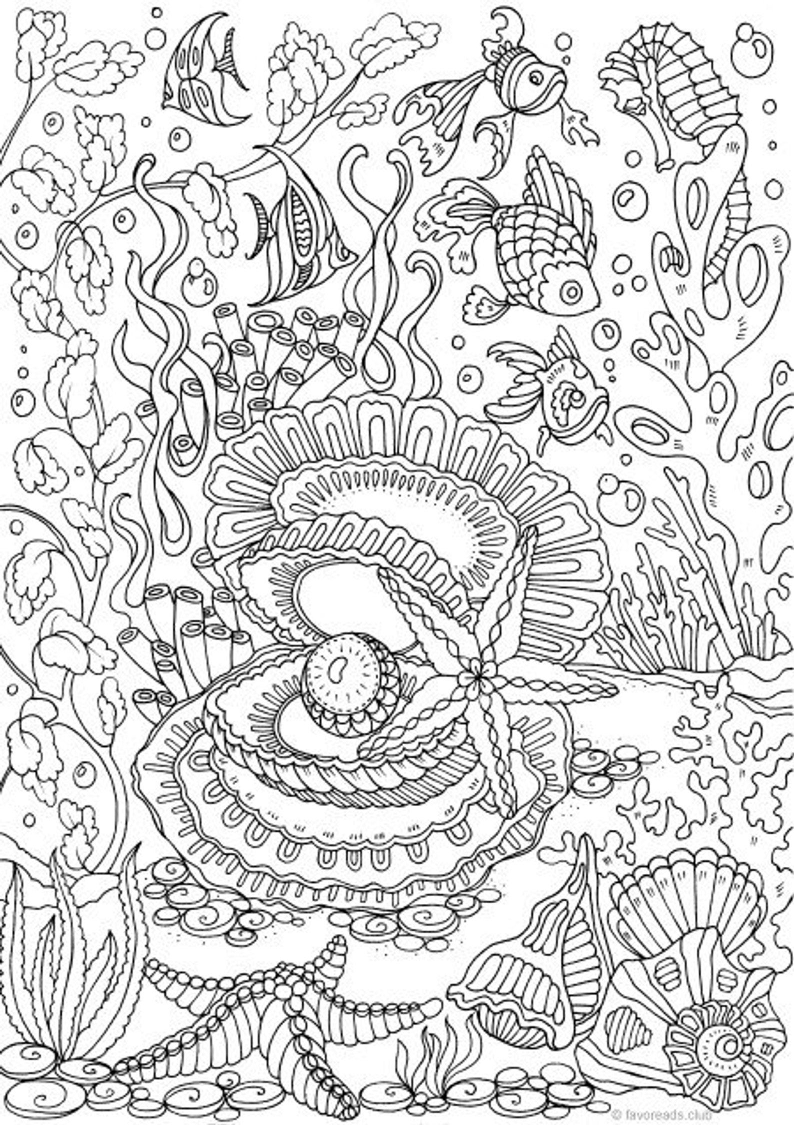 - Ocean Pearl - Printable Adult Coloring Page From Favoreads