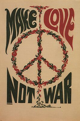 Details about MAKE LOVE NOT WAR anti-war poster USA 1967 24X36 CLASSIC collectors ART - SW0 images