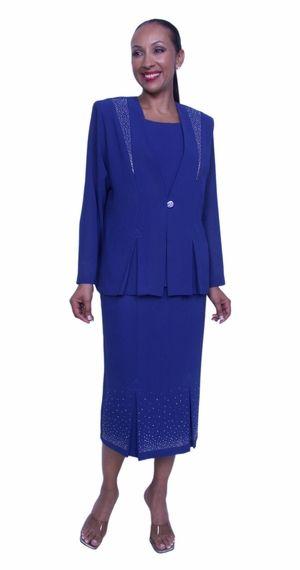 Royal Blue Plus Size 3 Piece Dress Set Tea Length Jacket