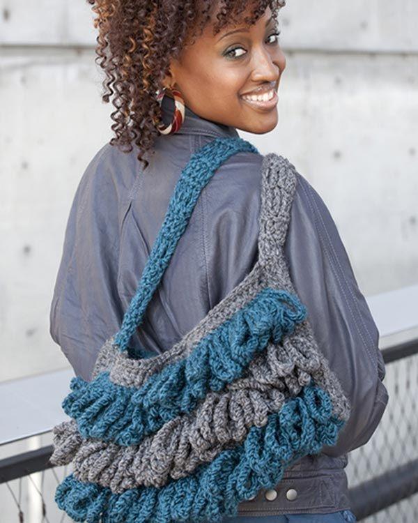 Free Crochet Pattern Loopy Boho Bag From RedHeart.com | crochet ...