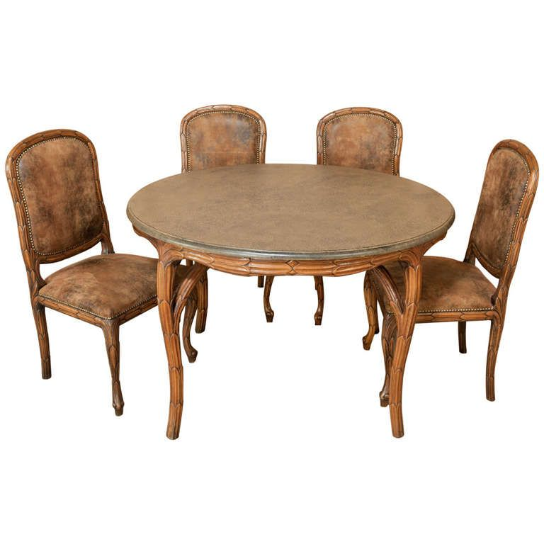 Art Nouveau Game Table And Chairs Set