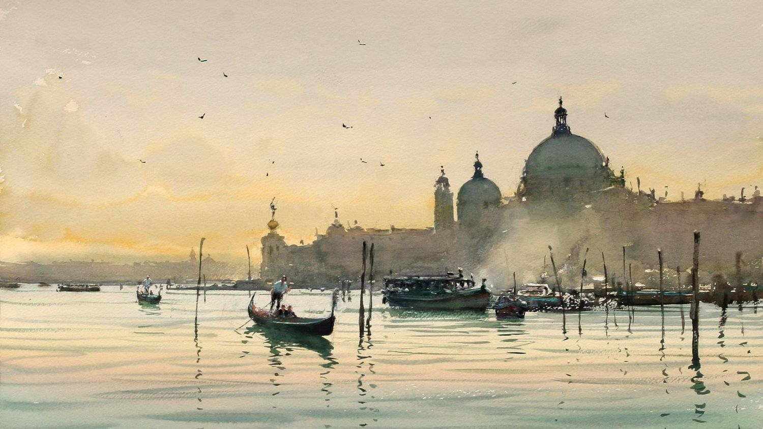 A Beautiful Early Morning View Of Venice Grand Canal And Gondolas    Watercolor Painting