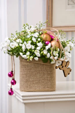 Campanula Haylodgensis Decor Reusable Decorative Wicker Basket