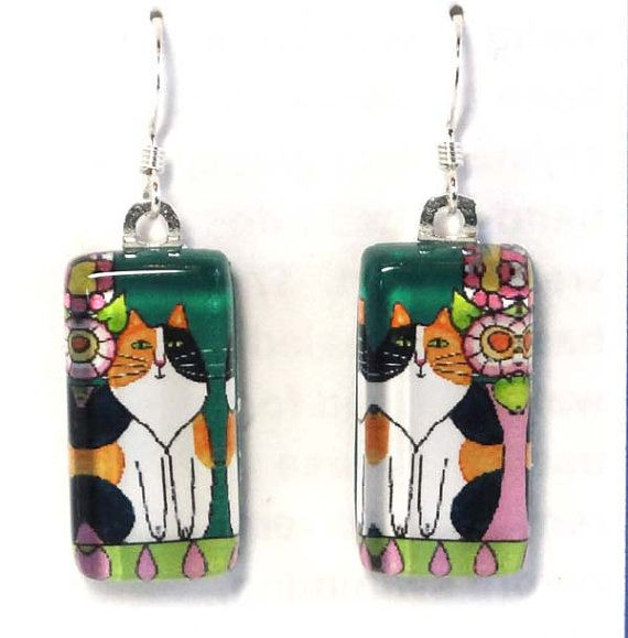 Calico Cat Earrings/ Longhair Kitty Art by SusanFayePetProjects, $18.00