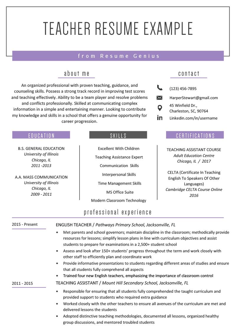 teacher resume samples  writing guide  teacher resume