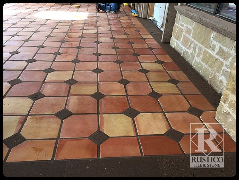 X Square Saltillo Tiles With X Cantera Stone Inserts This - 4x4 terracotta tile