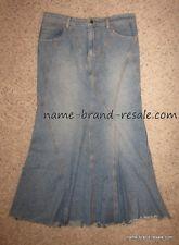 Laundry Denim Jean Long Flare Modest Skirt Womens 8