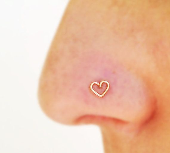 Tiny nose stud, tiny heart nose stud, gold nose ring, heart tragus, nose ring stud sterling silver handcrafted