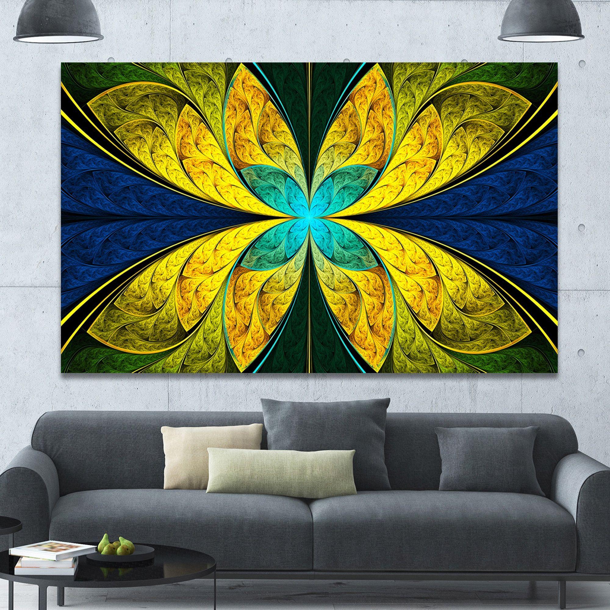 Designart ubright blue fractal floweru extra floral wall art on