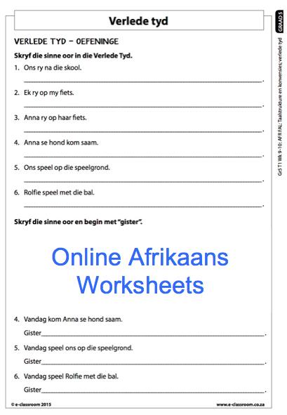 Grade 5 Online Afrikaans Worksheets, Verlede Tyd. For more