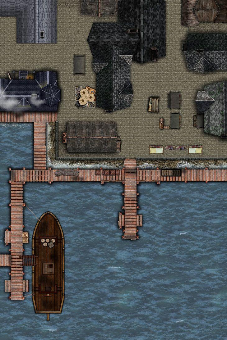 Dnd Dock Map : Riddleport, Docks, Fantasy, Dungeon, Maps,, Maker