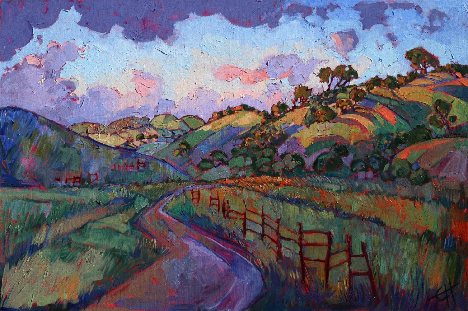 Sunset Hills Original Oil Painting By Erin Hanson Landscape Paintings Original Oil Painting Oil Painting Landscape