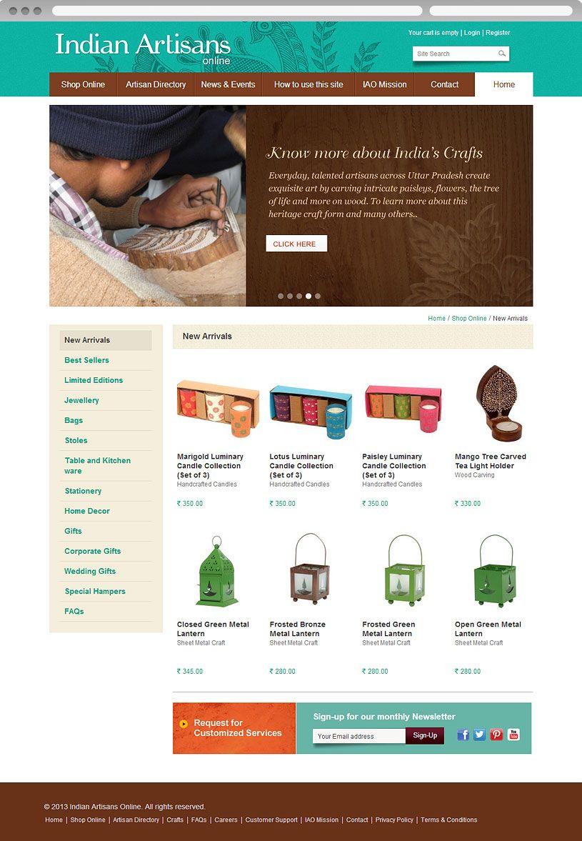 Ecommerce website design for Indian Artisans Online. View online at http://www.niyati.sg/web-design/192/ecommerce-web-design