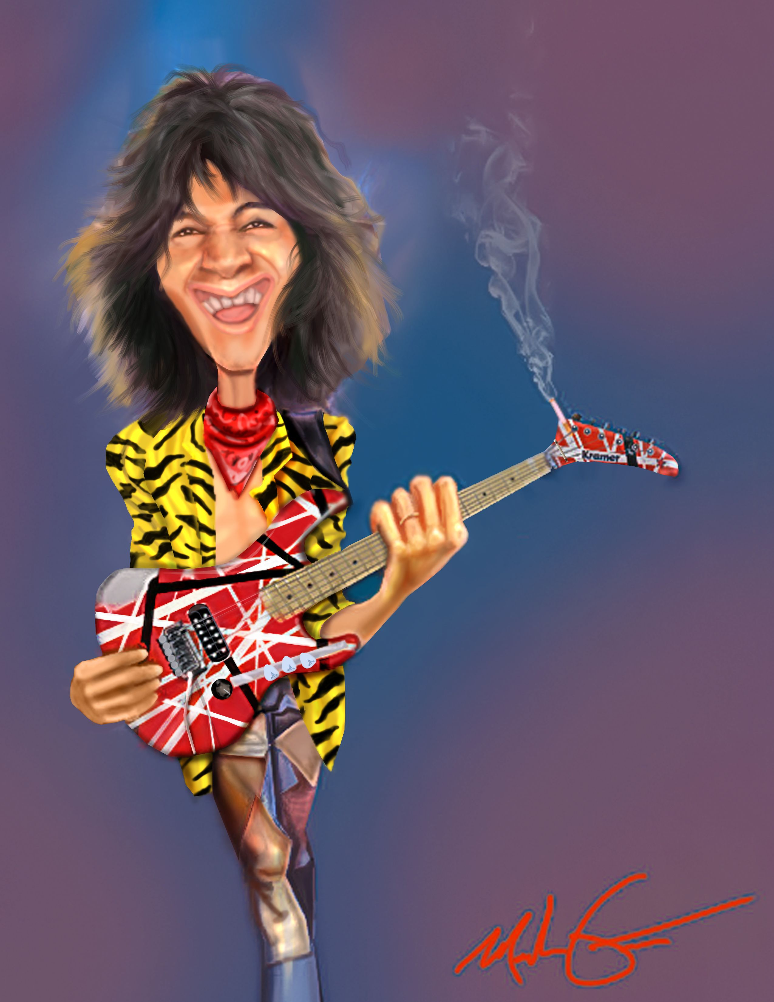 A Caricature I Did Of The Legend Eddie Van Halen Celebrity Caricatures Caricature Van Halen