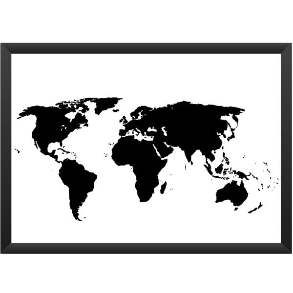 wanddeko weltkarte one world wei schwarz 30x40cm ein designerst ck von meine weltkarte. Black Bedroom Furniture Sets. Home Design Ideas
