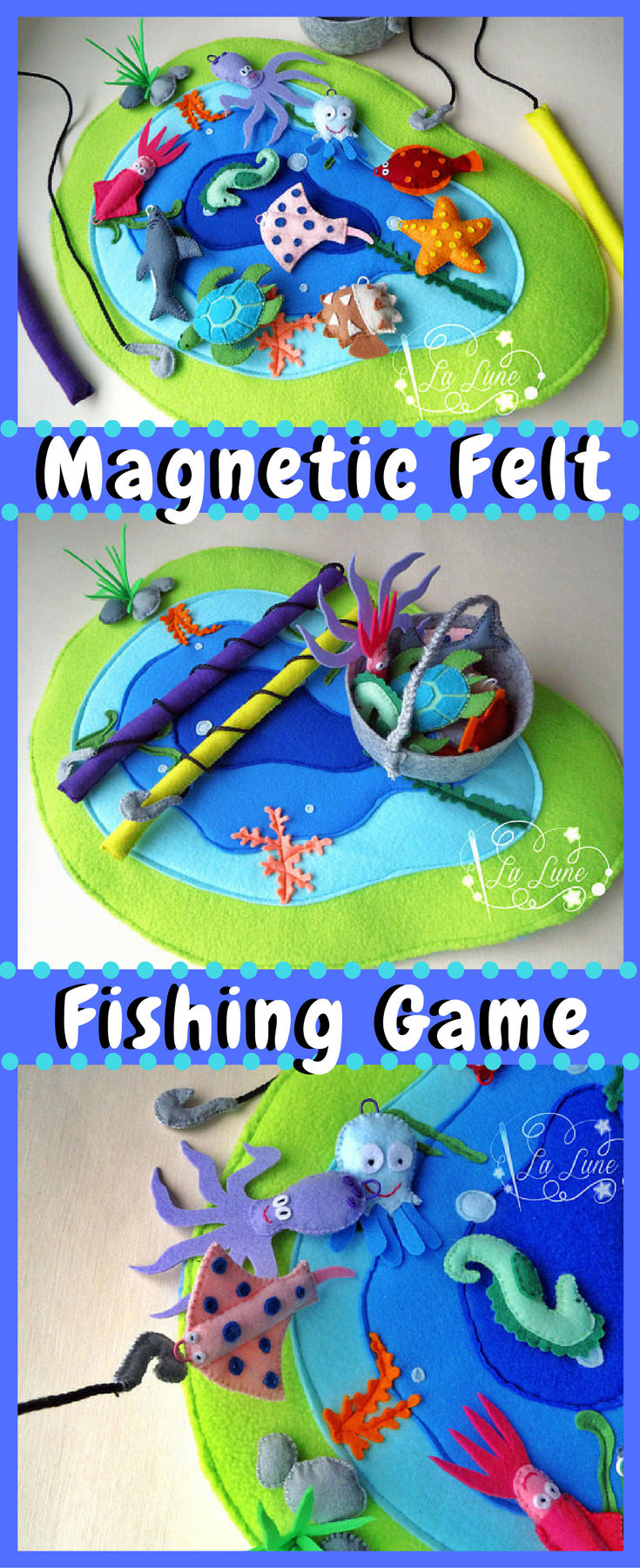 A Magnetic Fishing Game made from soft colorful felt - a fun game ...