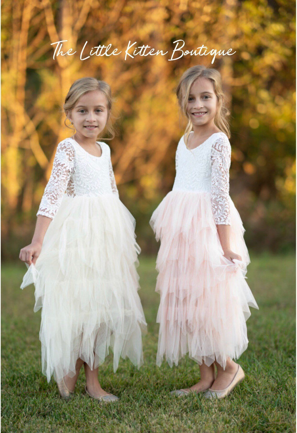 Flower Girl Dress Boho Dress Pink Flower Girl Dresses Blush Flower Girl Dress White Ivory Tutu Tulle birthday Dress Lace Flower Girl