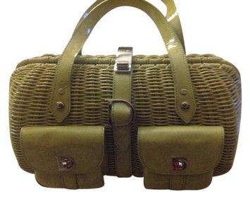Christian Dior Wicker And Patent Leather Green Satchel