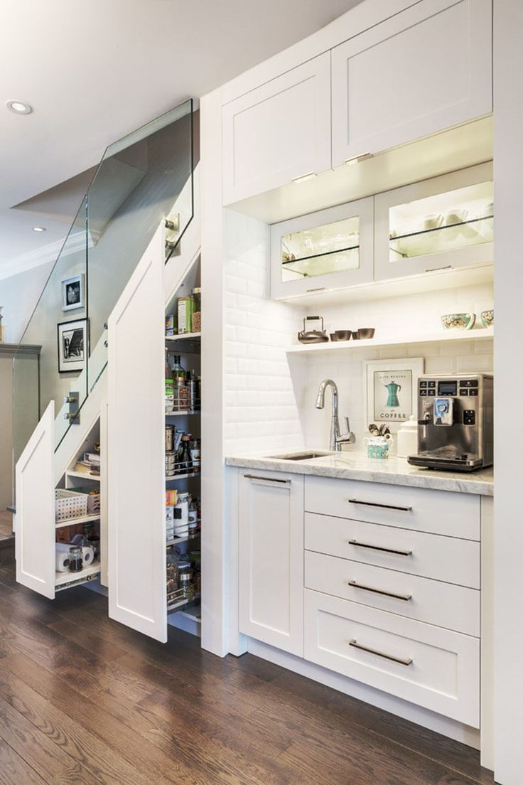 This Home Added A Coffee Station And Food Storage Cabinet Under The Stairs Kitchen Under Stairs Stairs In Kitchen Kitchen Design Small