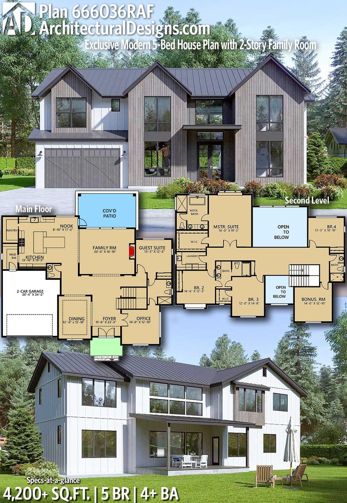 Plan 666036raf Modern 5 Bed House Plan With 2 Story Foyer And Family Room House Plans Modern House Plans Sims House Plans