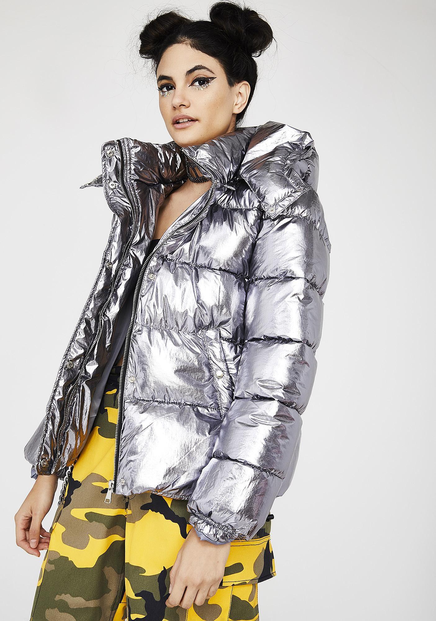 To Infinity Metallic Puffer Jacket Jackets Shiny Jacket Puffer Jackets [ 2000 x 1405 Pixel ]