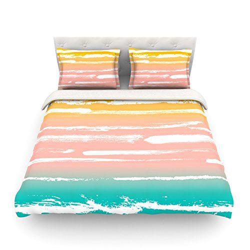 88 X 88 KESS InHouse Josh Serafin You /& Me Blue Orange Queen Comforter